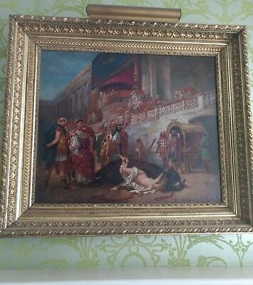 LARGE Antique Roman Oil Painting