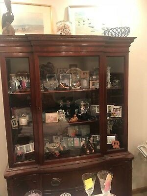 Vintage Morganton Cherry Breakfront China Cabinet - 1940's-1950's