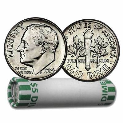 FULL DATES! UNSEARCHED Roll of 50 PRE 1965 90% Silver Dimes!