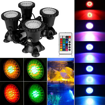 4X 6W/12W RGB 36 LED Submersible Underwater Spot Light Garden Pond Fish Tank UK