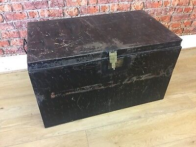 Vintage metal storage trunk large