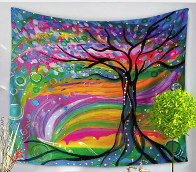 Colorful Tree Tapestry - Psychedelic Forest - Tree Of Life - Large 150 x 130 cm