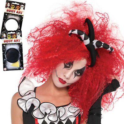 Ladies Red Crimped Wig Black White Paint Harlequin Halloween Fancy Dress Costume