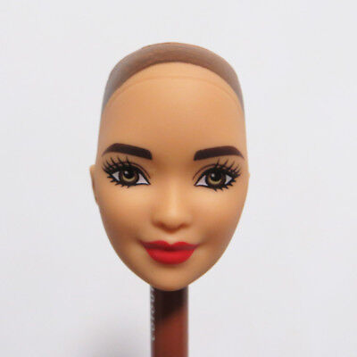 Head for Barbie Doll without Hair Red Lips Asian Face DIY Doll Soft Head