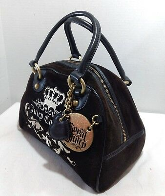 Juicy Couture Royal Dome Brown Velour Crown Black Leather Heart Satchel Bag