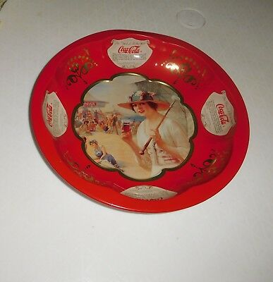 Vintage 1995 Coca Cola Tin Serving Dish Bowl Tray plate red beach scene