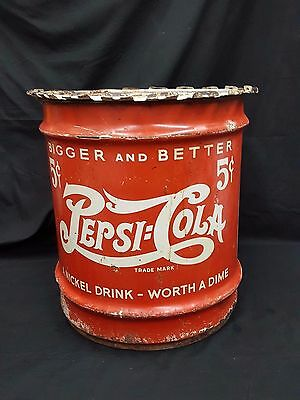 Pepsi-Cola 10 Gallon Syrup Canister Drum - Double Dot
