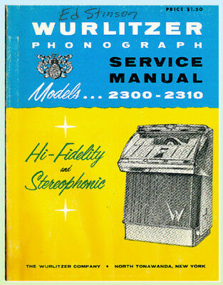 Wurlitzer 2300-2310 Service Manual  Original!