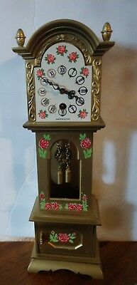 Mini made in West Germany Grandfather Gold w/flowers antique clock