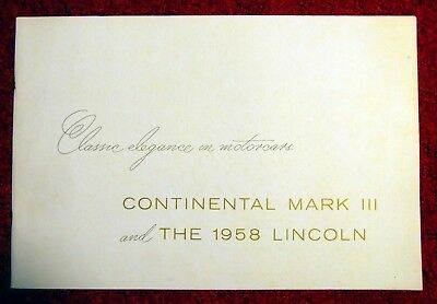 1958 Continental Mark Iii And Lincoln Continental Large Sales Catalog-Nice!