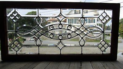 Fancy Antique Beveled Glass Window With Jewels 20 By 40