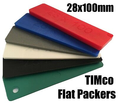 TIMco 100mm x 28mm Plastic Flat Packers Shims Frame Window Glazing Flooring