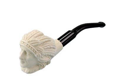 Hand Carved Small Meerschaum Pipe -- Indian Chief Design