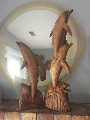 """2 X-Large Intricate Vintage Dolphin Sculptures Carved Wooden 30"""" & 19"""" Statues"""