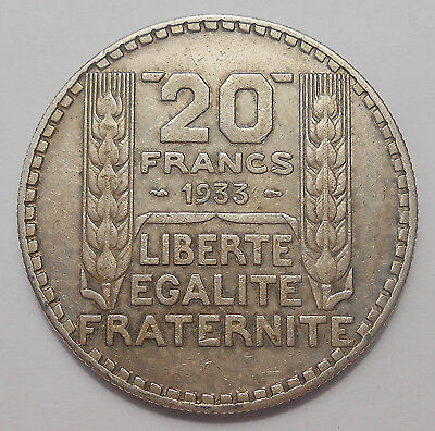 France 1933 20 Francs VF ** Classic Laureate Head LARGE SILVER Crown French Coin