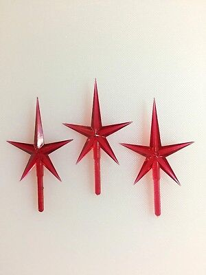 "3 RED MEDIUM STARS Ceramic Christmas Tree REPLACEMENT TOPPERS 1.75"" Wide"