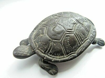 Vintage Bronze Turtle / Tortoise Trinket Box Hinged Lid 4 Inches Stamped England