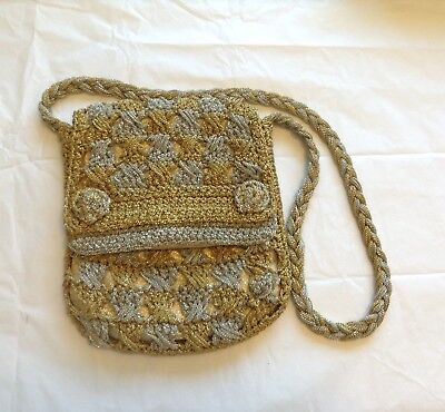 Vintage 60's 70's Magid hand crochet Bag Purse gold/silver made in Japan