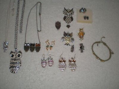 15pc Lot Owl Jewelry Necklaces Ring Earrings Brooches Bracelet Pendants Age ?