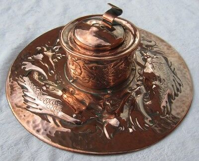 Large Newlyn copper inkstand circa 1900