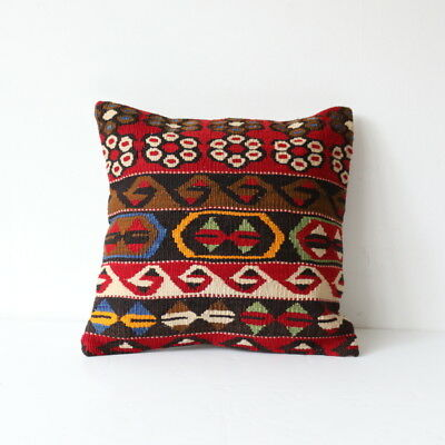 Medium Turkish Kilim cushion cover made from old Kilim carpets / rugs