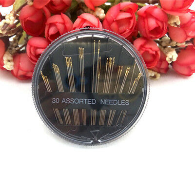 30pcs Hand Sewing Needles Embroidery Mending Craft Sew Case Assorted Sizes Gold
