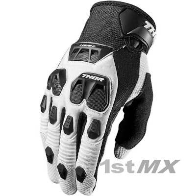 Thor Defend Motocross Race MX Offroad Gloves White Black Adults