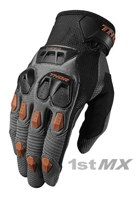 Thor Defend Motocross Race MX Offroad Gloves Charcoal Orange Adults