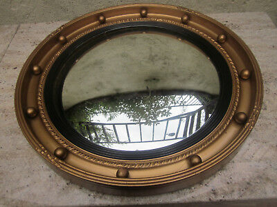 Art deco , gold framed , convex , porthole , butlers mirror , 1950's-60's