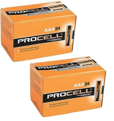 New Duracell Procell Aaa Alkaline Batteries 48 (2 Boxes Of 24) Exp 5+ Yrs