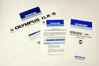 Olympus OES Instruction Booklets for Hi Mag TV Probe and ILK-5 Cold Light Supply