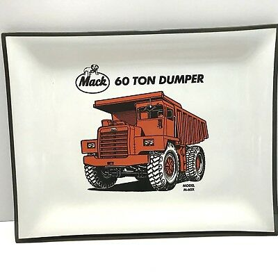 Vintage Mack Dump Truck 60 Ton Advertising Tray Smoked Glass Collectible Plate