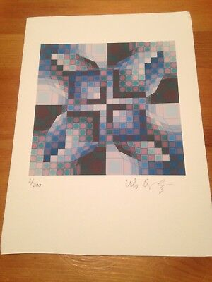 VICTOR VASARELY Superb  Litograph   Hand Signed with Pencil