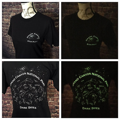 """Official Grand Canyon National Park """"Dark Skies"""" GLOW IN THE DARK T-shirt SMALL"""