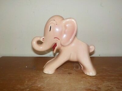 Antique 1920's Popeye Pink Ceramic Figural Cartoon Elephant Planter Excellent!