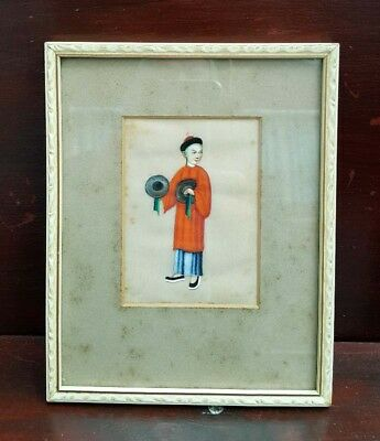 Chinese antique pith rice paper painting framed