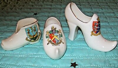 3 x Miniature Crested China Shoes,Margate;Hastings & St Leonards & Weymouth