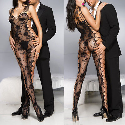 Sheer Rose Lace Pantyhose Shredded Tank Crotchles Bodystocking Lingerie Bodysuit