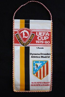 DDR-Wimpel Fußball UEFA-CUP Dynamo Dresden-Atletico Madrid 1979