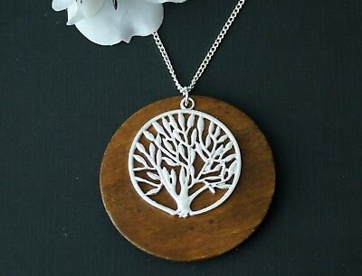 """Tree Of Life Wooden Round Charm Pendant Necklace Boho Chic Vintage Silver 18"""""""