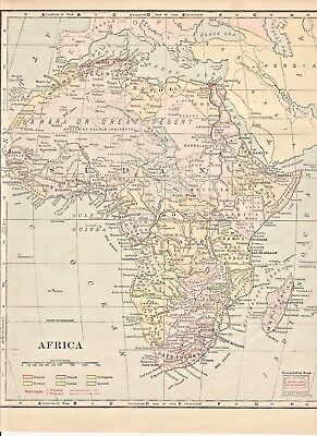 "Original 1903 Color Map, AFRICA CONTINENT, KONGO, 9.5"" x 11.5"", Frye's Geography"