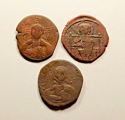 Anonymous Follis - Ancient Byzantine Bronze Coin  - LOT OF 3