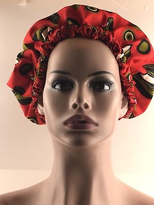 TWO IN ONE, REVERSIBLE ANKARA AND SATIN bonnet cap, African print.