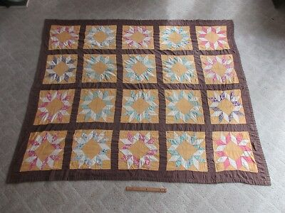 """Antique Hand Sewn Applique Feed Sack Block Star Quilt Coverlet 80.5"""" x 67.5"""""""