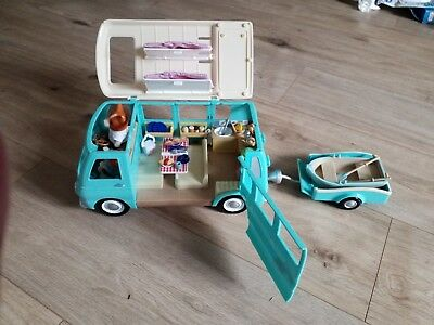 Sylvanian Families Campervan With Rowing Boat Trailer And Accessories