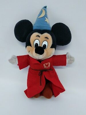 """Mickey Mouse Fantasia Sorcerer Disney Channel Exclusive 12"""" Plush Stuffed Toy"""
