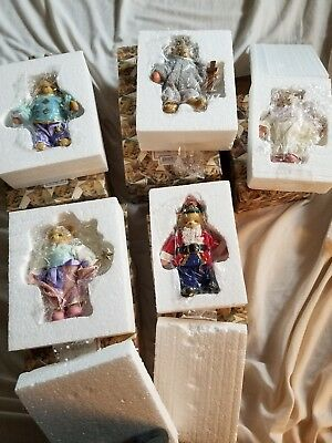 Lot Of 5 Cherished Teddies By Enesco Hanging Ornaments New in Box