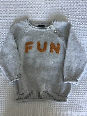 NEXT Boys Grey FUN Cotton Knit Jumper. Age 12-18 Months. Immaculate Condition