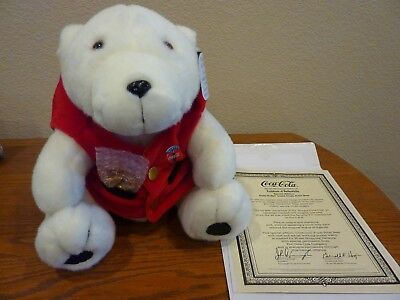 Coca-Cola Plush Polar Bear Special Edition w/Vest and Pocket Watch HSN Exclusive