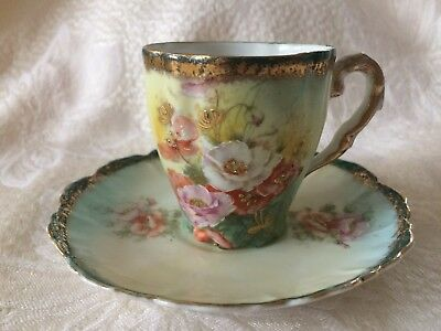 Vintage Bavaria Tea Cup and Saucer Flowers with Gold Rim